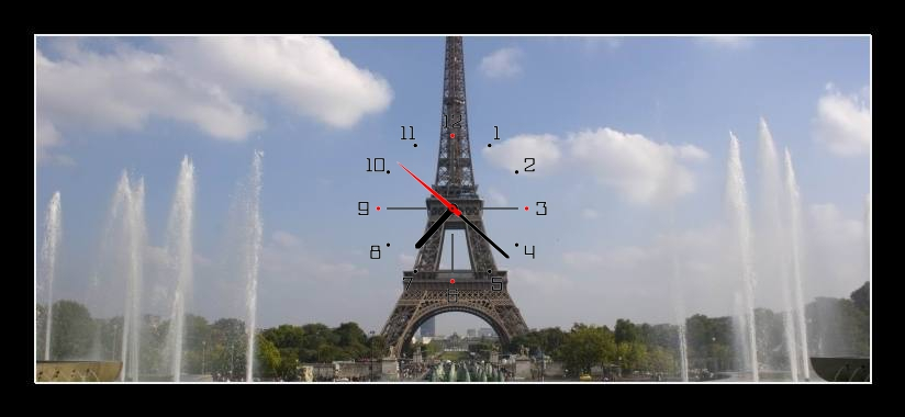 Obraz s hodinami - eiffelova věž