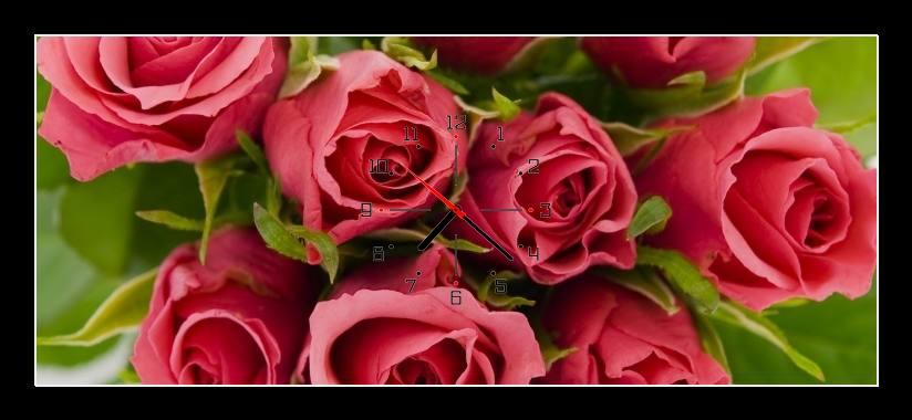 Obraz s hodinami - kytice růží