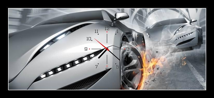 Obraz s hodinami - auta