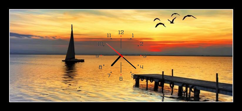 Obraz s hodinami - molo. lodˇa racci