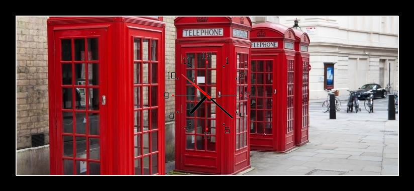 Obraz s hodinami - červené telefonní budky