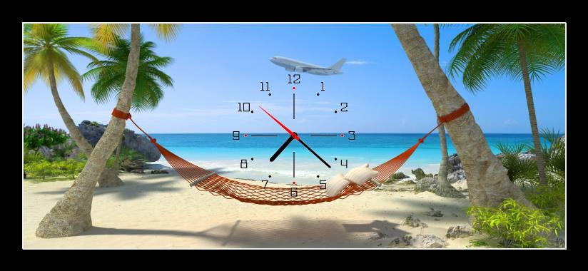 Obraz s hodinami - houpací síť na pláži