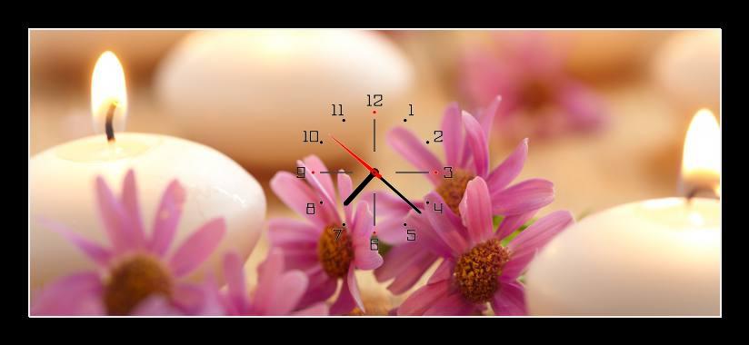 Obraz s hodinami - bílé svíčky a růžové kopretiny