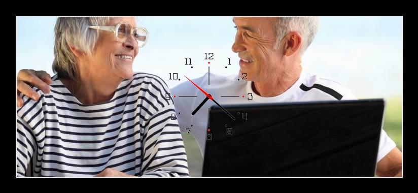 Obraz s hodinami - starší muž a žena