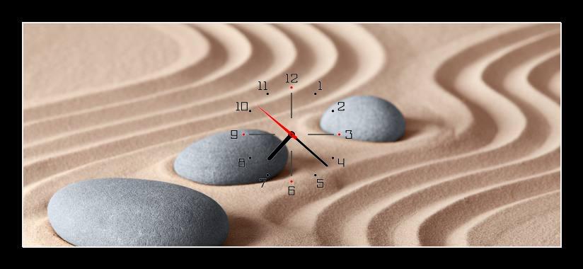 Obraz s hodinami - kameny v písku