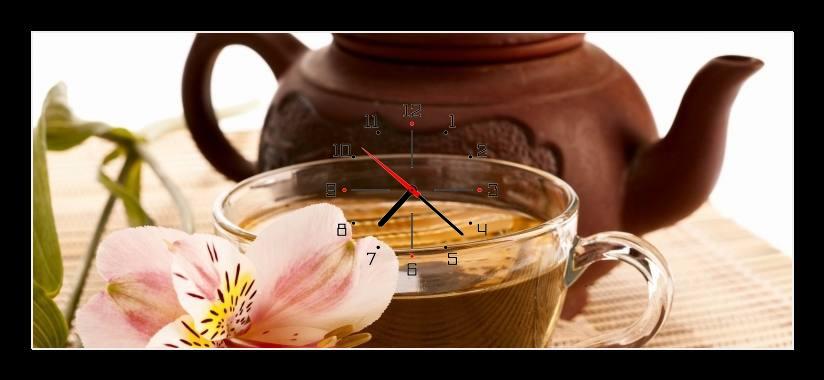 Obraz s hodinami - čajová konvička a čaj