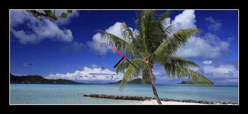 Obraz s hodinami - palma u moře