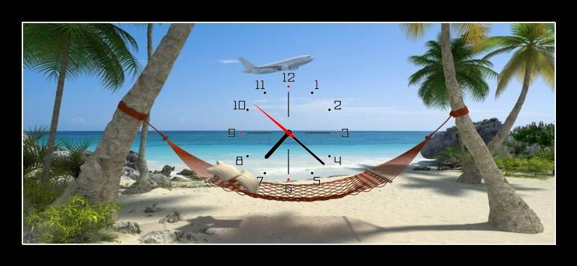 Obraz s hodinami - houpací síť mezi palmami