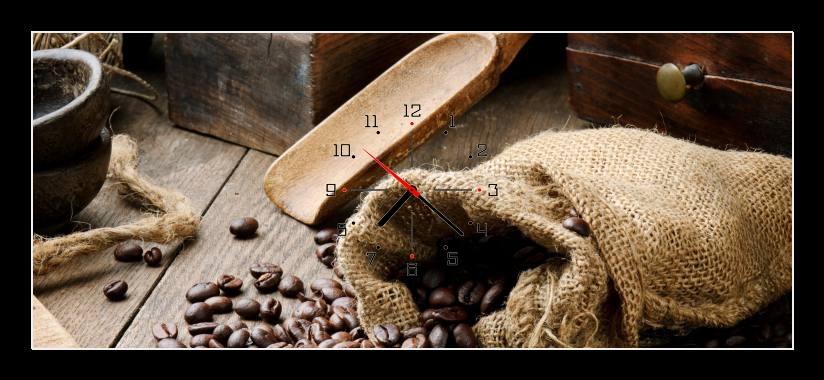 Obraz s hodinami - zrnková káva