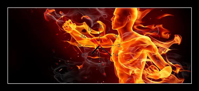 Obraz s hodinami - ohnivý muž