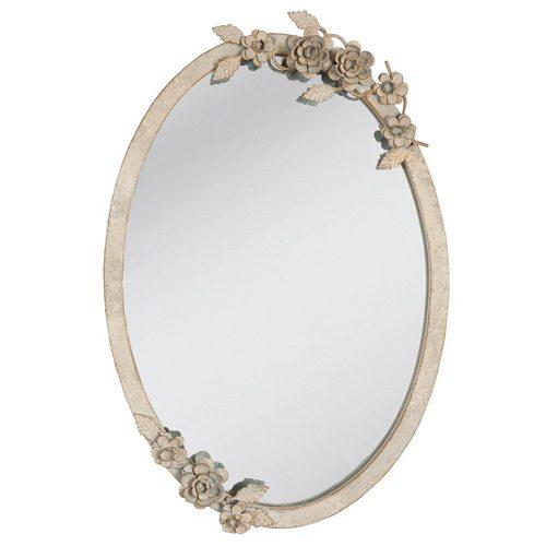 Zrcadlo oválné s dekorem a patinou