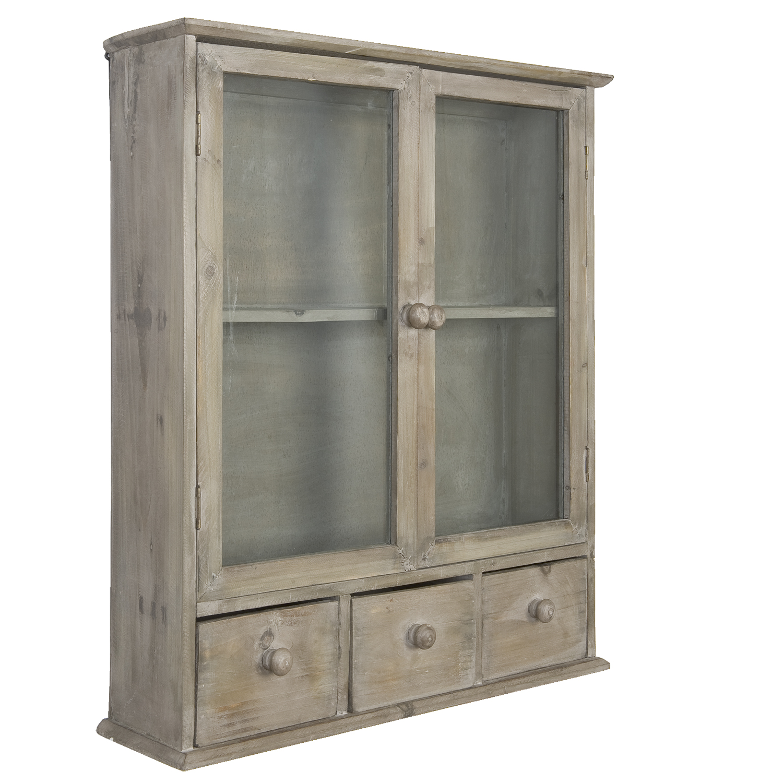 Dřevěná vitrína se zásuvkami