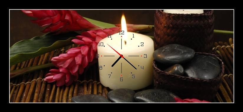 Obraz s hodinami - svíčka