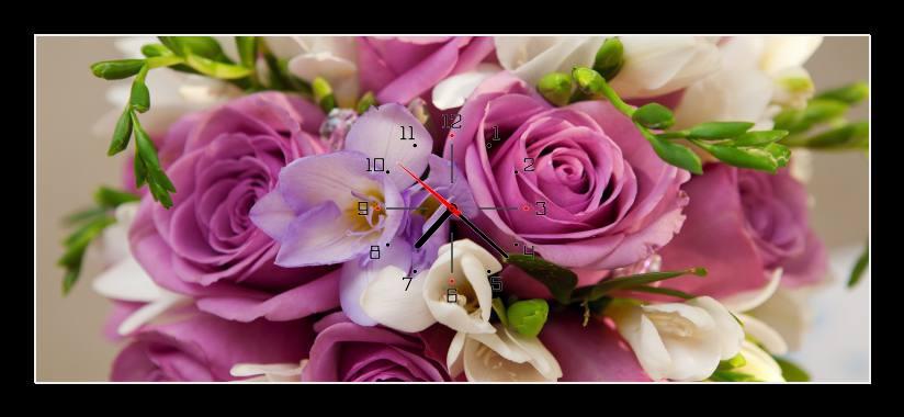 Obraz s hodinami - fialová kytice