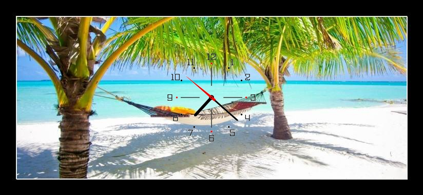 Obraz s hodinami - houpací siť mezi palmami