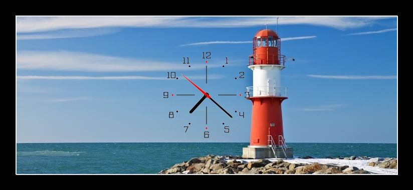 Obraz s hodinami - maják