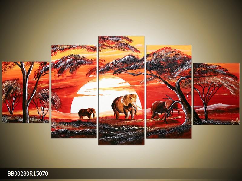 Ručně malovaný obraz sloni v krajině
