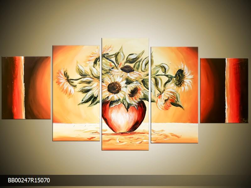 Ručně malovaný obraz slunečnice ve váze