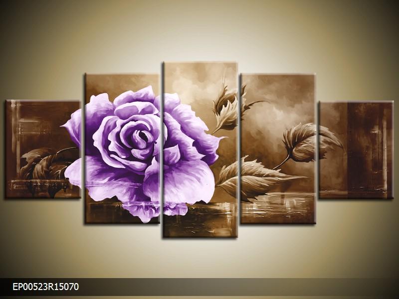 Ručně malovaný obraz fialová růže