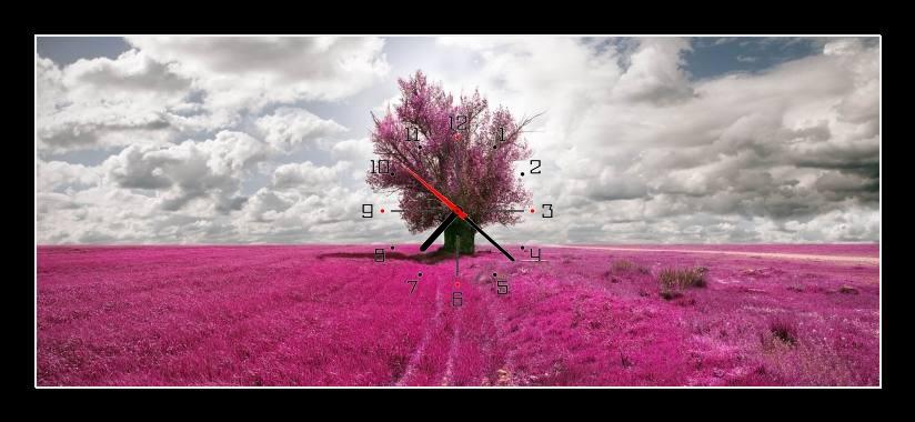 Obraz s hodinami - mraky nad růžovým polem