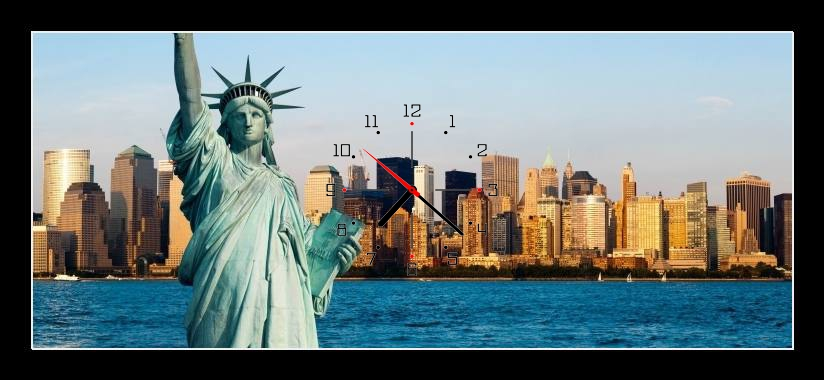 Obraz s hodinami - socha svobody