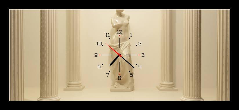Obraz s hodinami - socha