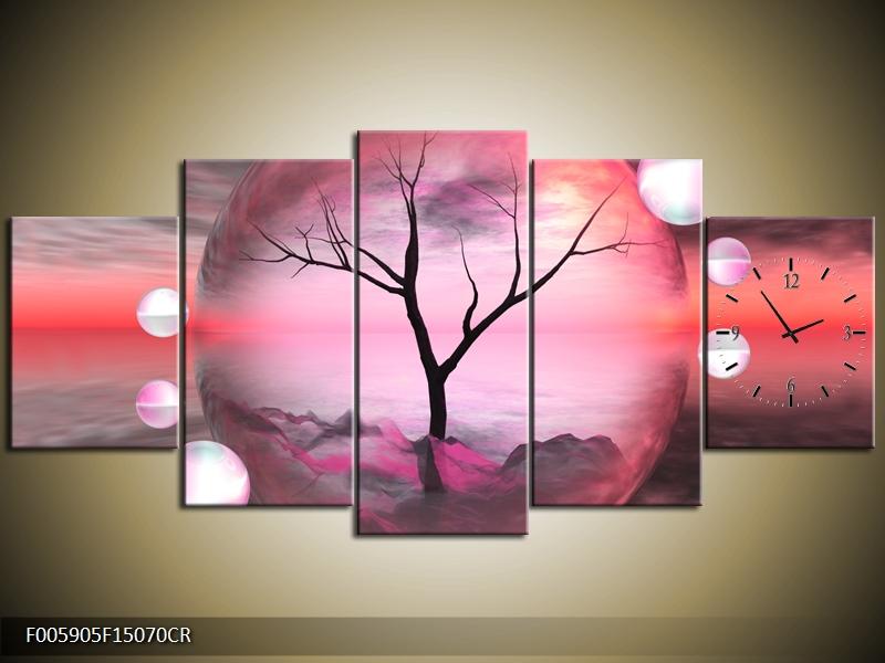 Obraz s hodinami abstrakt strom