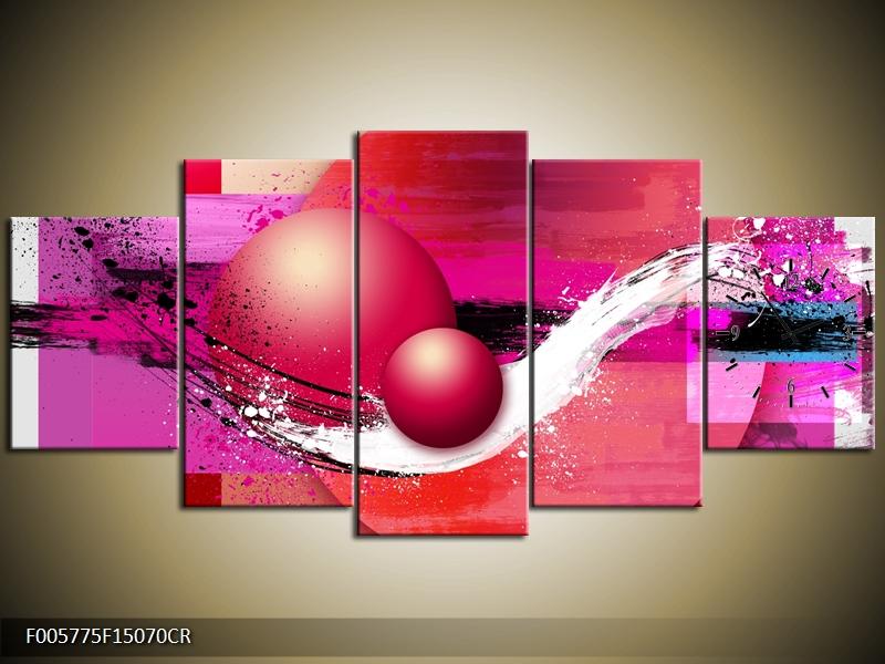 Obraz s hodinami červeno růžové abstrakce