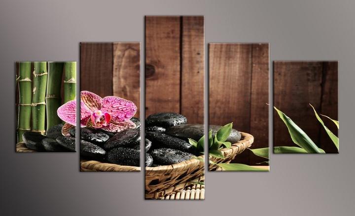 Obraz na plátně kameny a orchidej