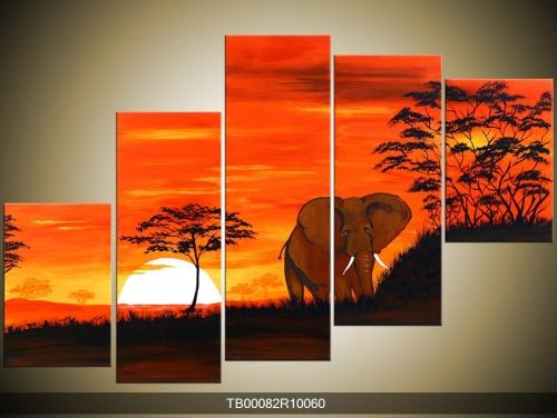 Obraz krajiny se slonem
