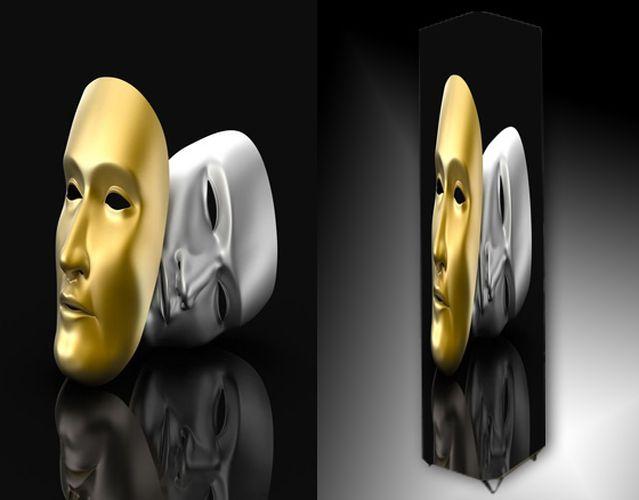 Lampa - zlatá a stříbrná maska