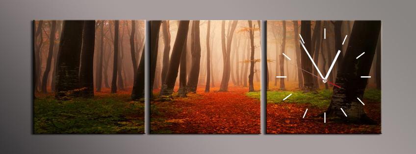 Obraz s hodinami kmeny stromů