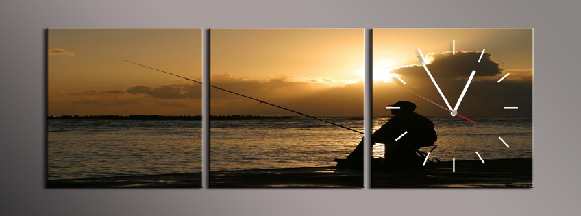 Obraz s hodinami rybář