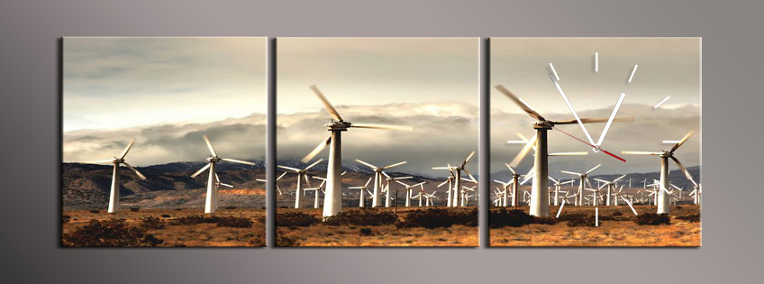 Obraz s hodinami větrná elektrárna