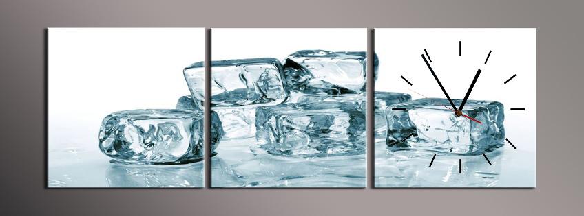 Obraz s hodinami kostky ledu