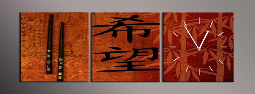 Obraz s hodinami čínské znaky a hůlky