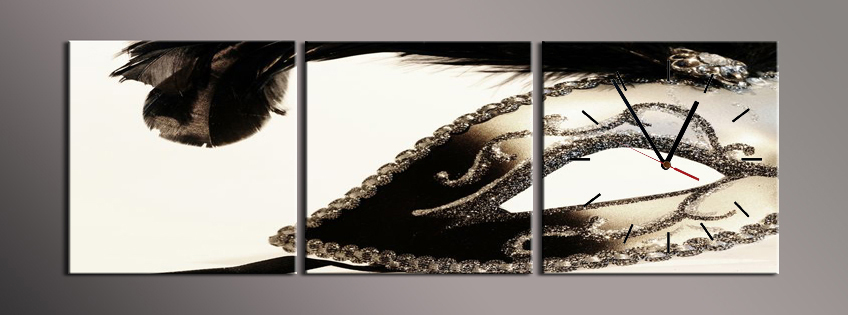 Obraz s hodinami černá škraboška