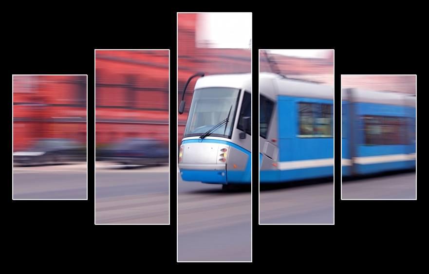 Obraz modré tramvaje