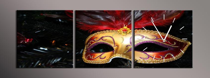 Obraz s hodinami zlatá maska