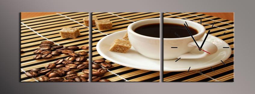 Obraz s hodinami káva a třtinový cukr