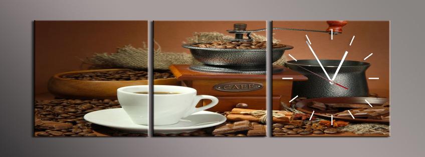 Obraz s hodinami mlýnek kávu