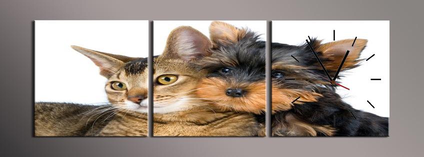 Obraz s hodinami kočka a pes