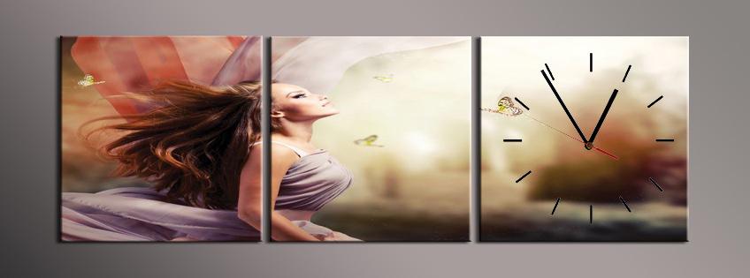 Obraz s hodinami žena s motýly