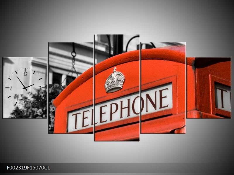 Obraz s hodinami telefonní budka