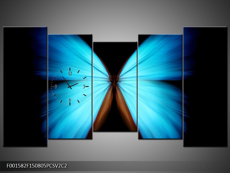 Obraz s hodinami modrý motýl