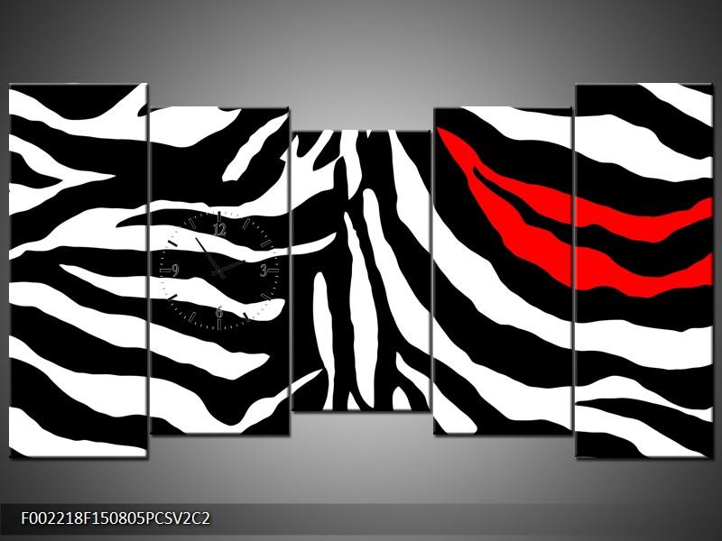 Obraz s hodinami abstrakce, zebra