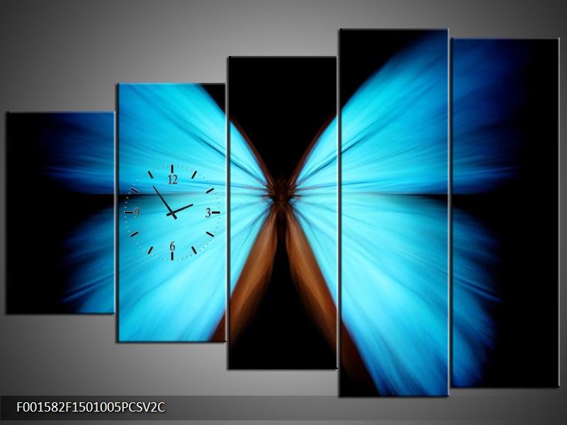 Obraz s hodinami tyrkys motýl