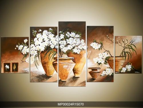 Obraz na zeď vázy s květinami