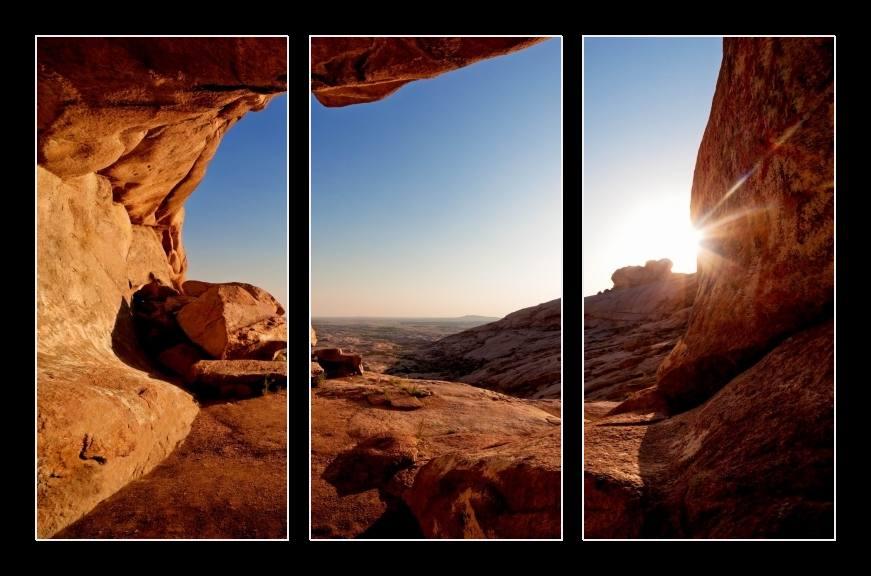 Obraz na zeď slunce ve skalách