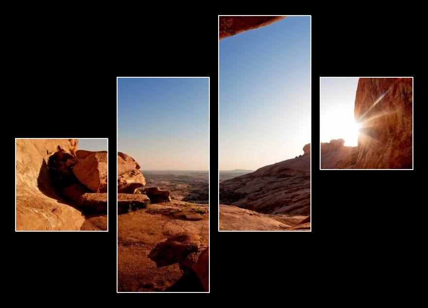 Obraz slunce ve skalách